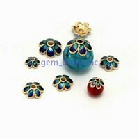 10mm Flower Bead Caps Metal Alloy Enamel Cloisonne Golden For Diy Jewelry Making
