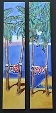 Beach Life - Ocean Palm Tree & Swim Suit Ceramic Tile Wall Art - Set of 2