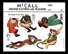 BEAN BAG Black Doll Monkey Toys Stuffed Animal Fabric Sewing Pattern 1167 McCall