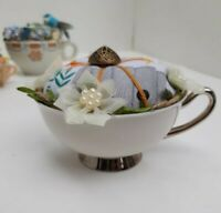 Vintage Syracuse Countess China Tea cup - Whimsical Floral Pin Cushion - Antique