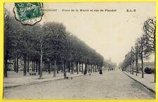 cpa Ecrite en 1911 LE BOURGET  Place de la MAIRIE Rue de FLANDRE à LEVY Julien