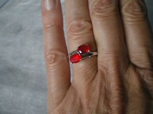 Ethiopian Red Opal ring, 1 carat, size N/O, in 2.64 grams of 925 Sterling Silver