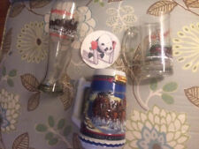 Budweiser Holiday Clydesdale Horses Lot of 3.... Beer Stein, Mug and Pilsner