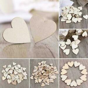 100Pcs Heart Shape Mini Wooden Love Heart Gift Crafts Scrapbooking Xmas Gifts TM