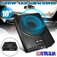 10'' 600W Active Car Subwoofer And Amp Wire Kits Speaker Audio Bass Amplifier