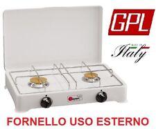 FORNELLO DA TAVOLO A GAS GPL 2 FUOCHI GRIGLIA CROMATA SPARGIFIAMMA IN OTTONE