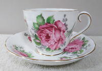 Adderley Tea Cup and Saucer Pink Roses Bone China England