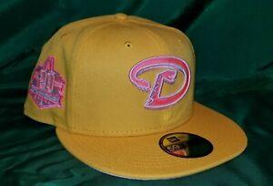 Exclusive Fitteds Yellow Arizona Diamondbacks 20th Anniversary Patch Pink UV