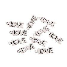 Love Tibetan Silver Bead charms Pendants fit bracelet 10pcs 20x8mm