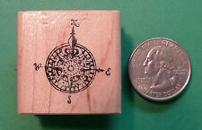 Compass - Map - Wood Mounted Rubber Stamp for classroom or geocaching