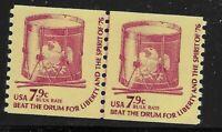 US Scott #1615, LINE PAIR 1976 Beat the Drum 7.9c FVF MNH