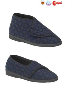 Mens Slippers Extra Wide Fit Washable Sleepers Blue Mens Size 6-13 UK