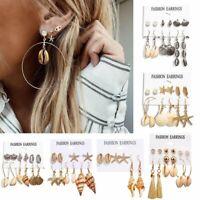 6Pcs/set Women Boho Ear Stud Clip Shell Beach Earrings Tassel Dangle Jewelry New