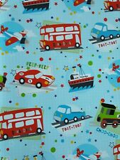 2 SHEETS OF GLOSSY  BOYS CHILDREN'S BIRTHDAY WRAPPING PAPER (buses trains planes