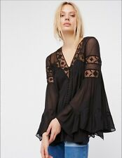 NWT FREE PEOPLE All Night Lace Buttondown top XS  $128