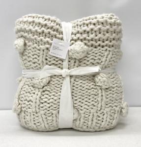 "NEW Pottery Barn Edilon Bobble Knit 50"" x 60"" Throw Blanket~Oatmeal"