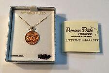 "PRINCESS PRIDE 14K GOLD FILLED GUARDIAN ANGEL 9/16"" PENDANT & 13"" CHAIN"
