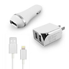 Apple iPod touch 6th Gen USB 2.1 amp Car+Wall Adapter+5 FT Data Cable White