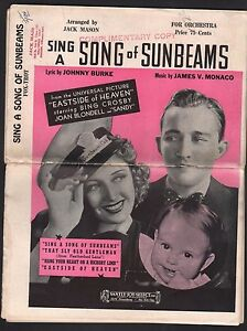 Sing A Song of Sunbeams 1939 Orchestration Eastside of Heaven Sheet Music