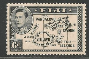 Fiji #125 (A27) VF MINT LH - 1938-55 6p King George VI - Map Of Fiji Islands