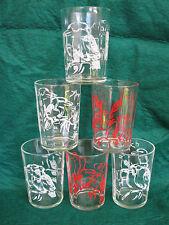 Vintage Swanky Swig ETA Peanut Butter Drinking Glass Kookaburra Set of 6 Glasses