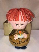 Vtg Dolly Gram Western Union HAPPY BIRTHDAY Felt Stuffed Doll Red Hair Box