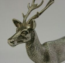ENGLISH SILVER PLATED STAG DEER FIGURE c1950 ANTIQUE TABLE DECORATION CHRISTMAS