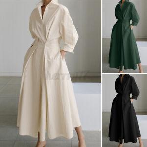 ZANZEA Womens Long Sleeve Elastic Waist Causal Loose Party Gown Long Shirt Dress