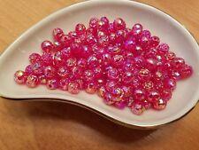 Vintage Rosebud Red Raspberry AB Luster Plastic Lucite Beads 8mm 144 pc pack
