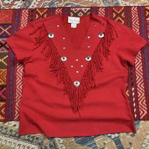 Vintage Shirt Western Fringe 90s Medium