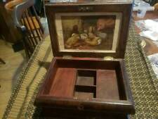 Victoria Inlaid Walnut Box Secret Compartment ~ Heart Lock~ Chick Hen Litho