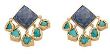 18K Gold Plated Multifaceted Lapis Lazuli Top Earrings w/ Chunky Turquoise Drops