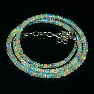 Natural Ethiopian Opal Smooth Rondelle AA++ Quality Beads 8 inch necklace 5