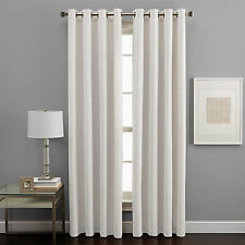 "2 IVORY PANELS THICK 99% LINEN BLACKOUT GROMMET WINDOW CURTAIN K86 84"" LONG"