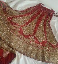 Designer Rosso e Dorato da Sposa Indiano Lengha/pakistano/Altorilievi/BENGALI/alankar