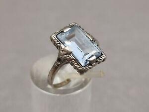 Antik Ring 835 Silber mit Aquamarin veredelt im Jugendstil