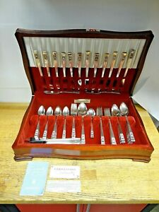 **Vintage >ONEIDA COMMUNITY CORONATION SILVERPLATE FLATWARE 109 PCS + WOOD CASE*