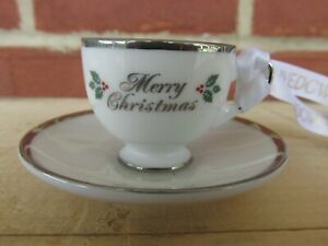 """Wedgwood MINIATURE CHINA CUP & SAUCER """"MERRY"""" CHRISTMAS"""" Ornament"""