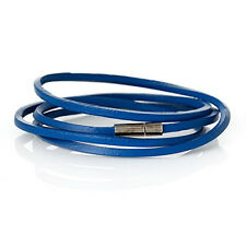 "Cowhide Leather Bracelet BLue Cord End Clasp 79cm(31 1/8"")"