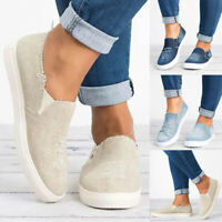 Womens Denim Slip On Flat Trainers Ladies Casual Loafers Comfy Plimsolls Shoes