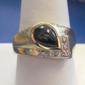 Stunning vntg 14K yellow GOLD MEN'S signet RING TIGER's EYE & Diamond sz10 Nice