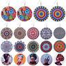 Wooden Round Flowers Earrings Colorful Ear Stud Dangle Drop Ethnic Style Jewelry