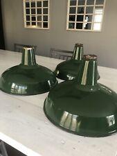 """Vintage 16"""" Green Porcelain Enamel Industrial Lights (3)"""