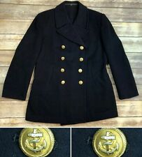 Vintage Scheffler Bleckede Navy Wool Double Breasted Jacket Military Nautical 42