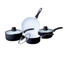 Black 7PC NON STICK CERAMIC COATED ALUMINIUM SAUCEPAN POT FRYING FRY PAN SET