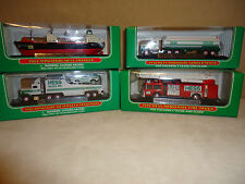 HESS MINIATURES (4)  1998 TANKER   2002 VOYAGER  2001 RACER TR. 1999 FIRE TR