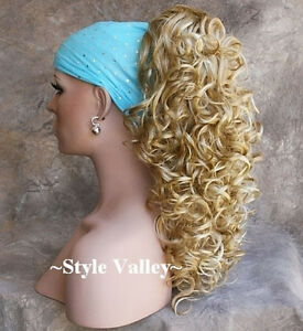 Blonde Mix Ponytail Hairpiece Long Curly Claw Clip in/on Hair Piece Extension