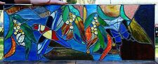 EASTERN ROSELLA & ULYSSUS BUTTERFLY with WATTLE Leadlight Stained Glass Window