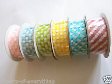 Ribbon 5m - 25mm - Polka Dot Pink Blue Green Yellow Double Sided