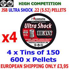 JSB ULTRA SHOCK HEAVY  .22 5.52mm Airgun Pellets 4(tins)x150pcs (IMPACT)